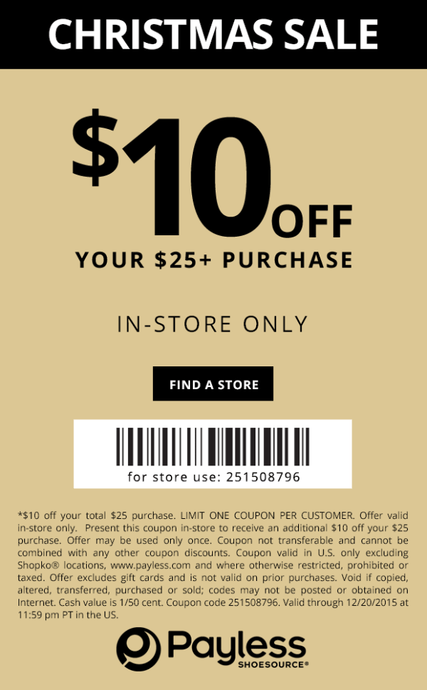 Payless Coupon December 2016 $10 off $25 at Payless Shoesource