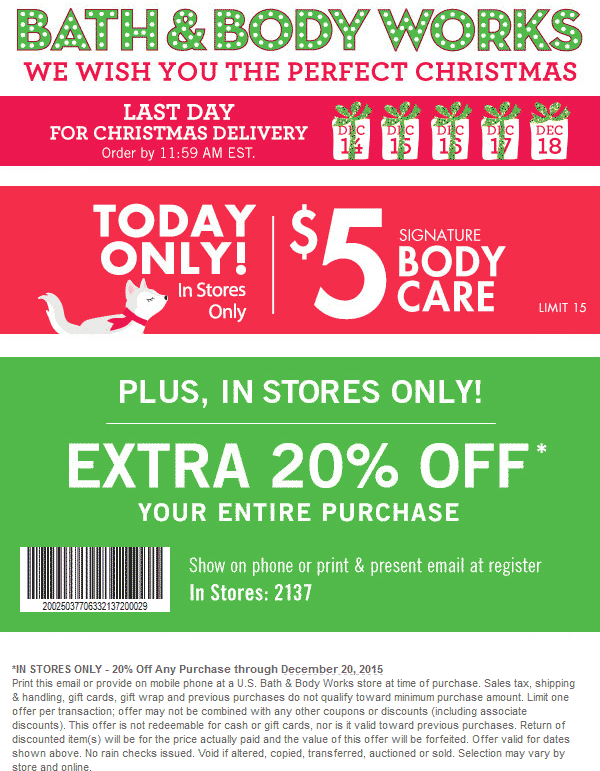 Bath & Body Works Coupon August 2017 $5 signature items Friday + extra 20% off everything at Bath & Body Works