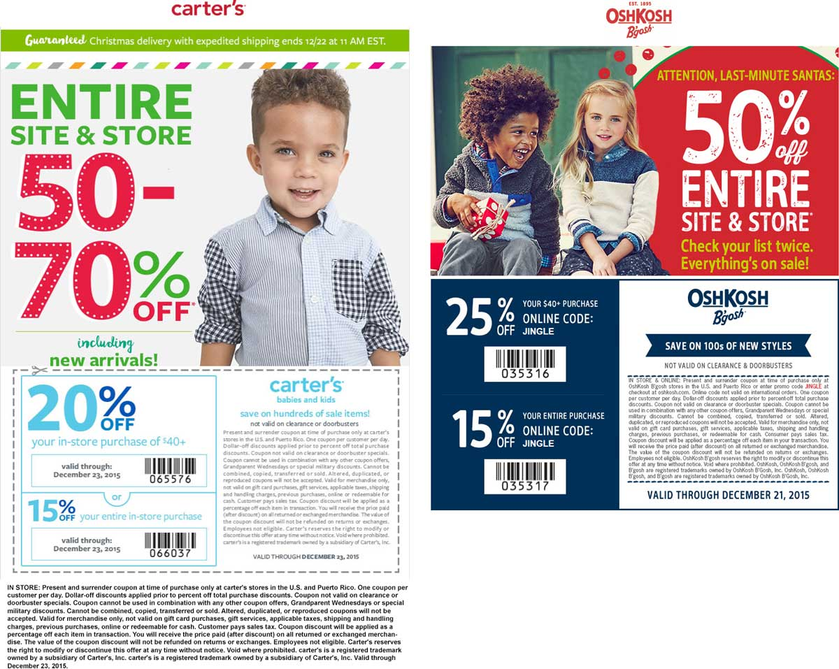 Carters Coupon June 2017 Everything is 50-70% off + another 15-25% off at Carters & OshKosh Bgosh, ditto online