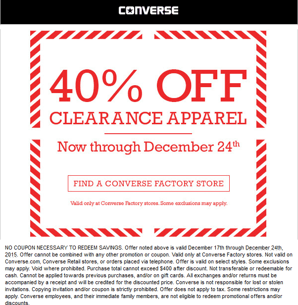 Converse Factory Coupon December 2017 Extra 40% off clearance at Converse Factory stores