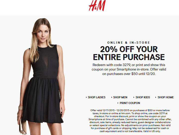 H&M Coupon December 2017 20% off $50 at H&M, or online via promo code 3279