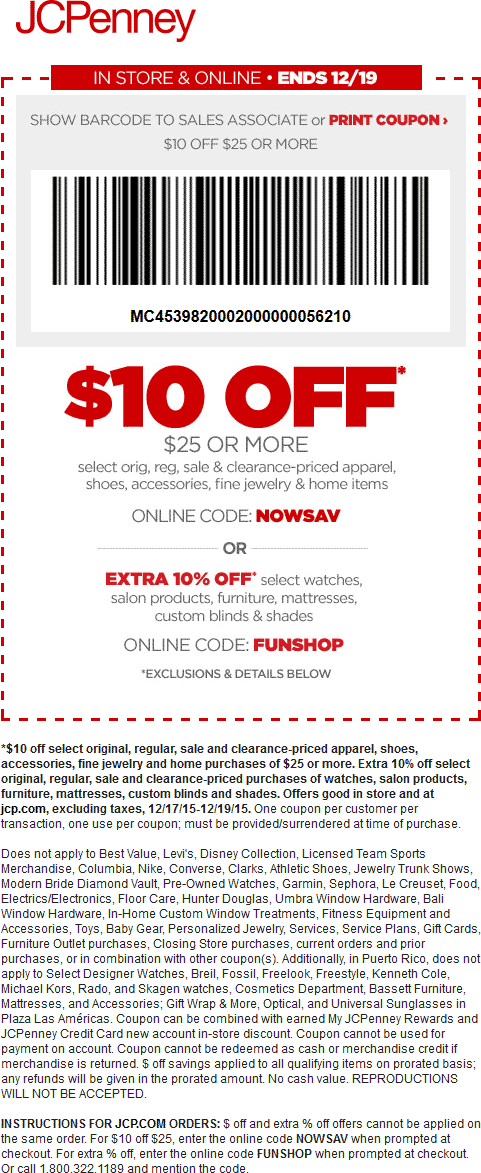 JCPenney Coupon February 2017 $10 off $25 at JCPenney, or online via promo code NOWSAV