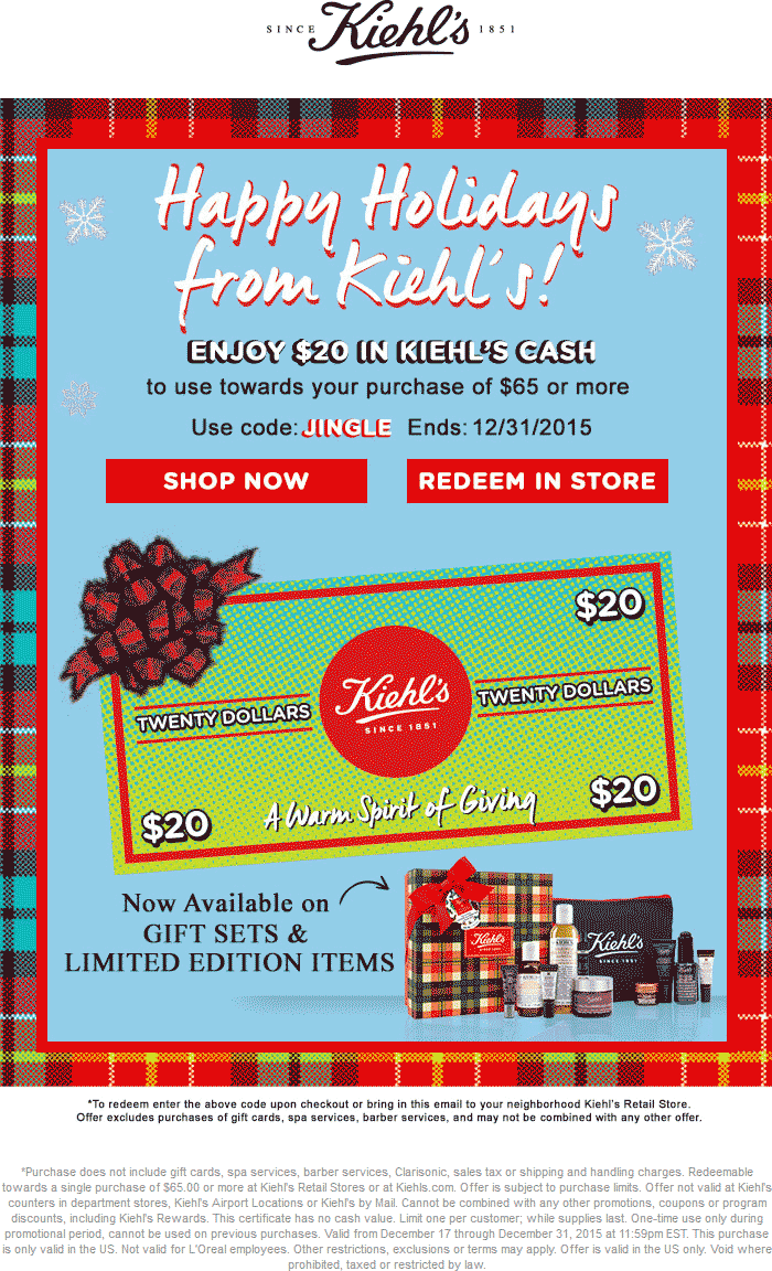 Kiehls Coupon August 2017 $20 off $65 at Kiehls, or online via promo coee JINGLE