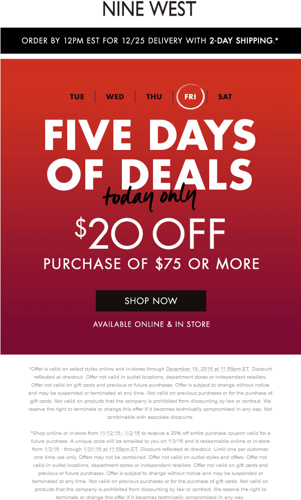 Nine West Coupon October 2016 $20 off $75 today at Nine West, ditto online