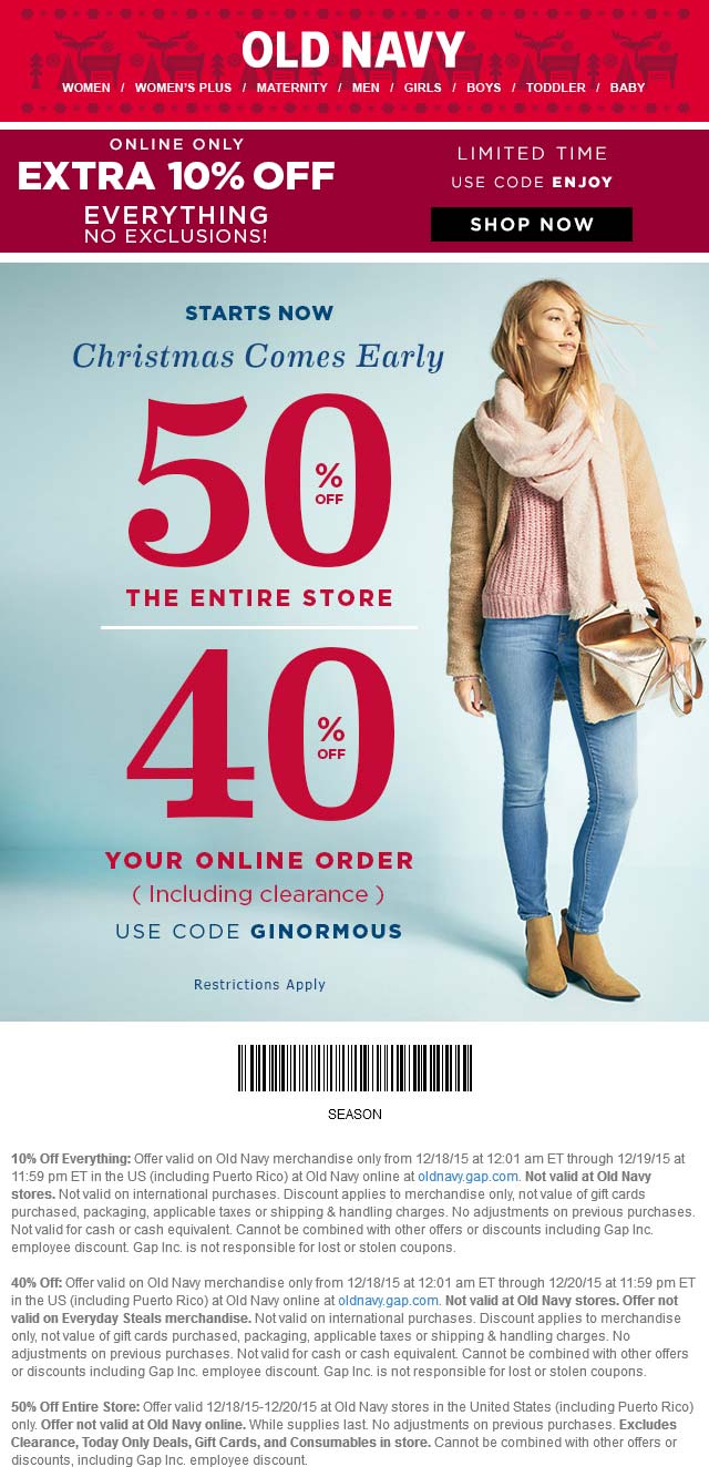 Old Navy Coupon January 2017 50% off everything at Old Navy, or online via promo code GINORMOUS