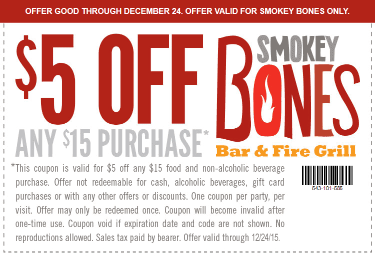 Smokey Bones Coupon August 2018 $5 off $15 at Smokey Bones bar & grill
