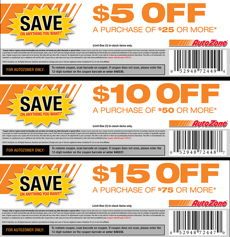 AutoZone Coupon March 2017 $5 off $25 & more at AutoZone