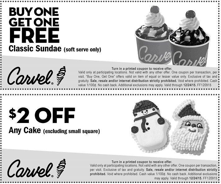 Carvel Coupon January 2018 Second ice cream sundae free at Carvel