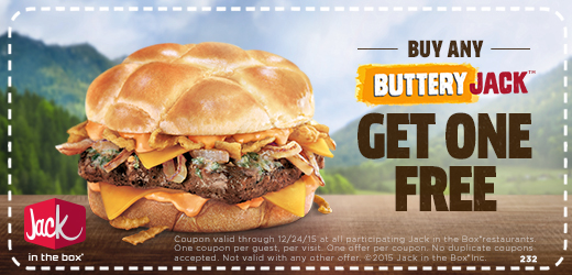 Jack in the Box Coupon March 2017 Second burger free at Jack in the Box