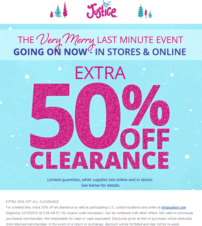 Justice Coupon April 2017 Extra 50% off clearance at Justice, ditto online