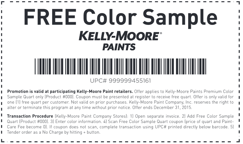 Free Sample: Kelly-Moore paint Coupon November 2017 Free Sample: Kelly-Moore paint