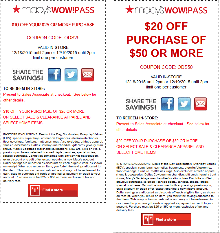 Macys Coupon May 2018 $10 off $25 & $20 off $50 today at Macys