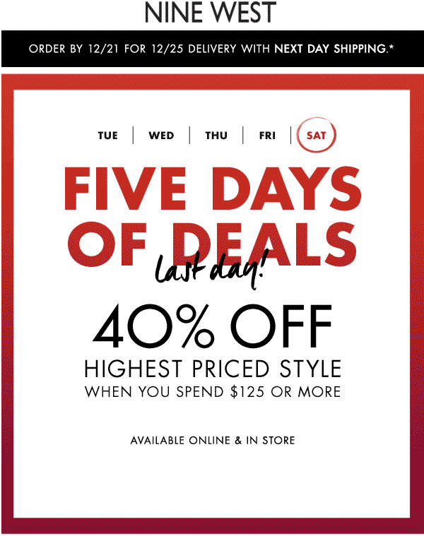 Nine West Coupon April 2018 40% off 1 item on $125 spent today at Nine West, ditto online