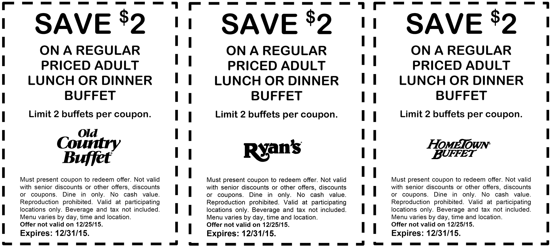Old Country Buffet Coupon May 2017 $2 off your buffet at Ryans, Hometown Buffet & Old Country Buffet