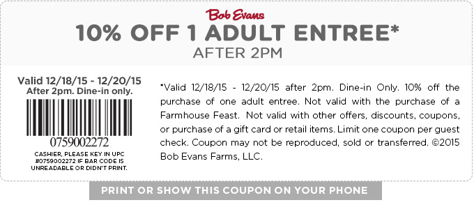 Bob Evans Coupon July 2017 10% off an entree today at Bob Evans
