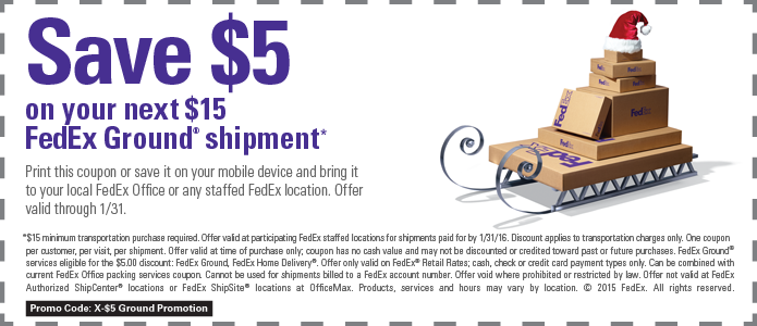 FedEx Coupon August 2017 $5 off $15 at FedEx