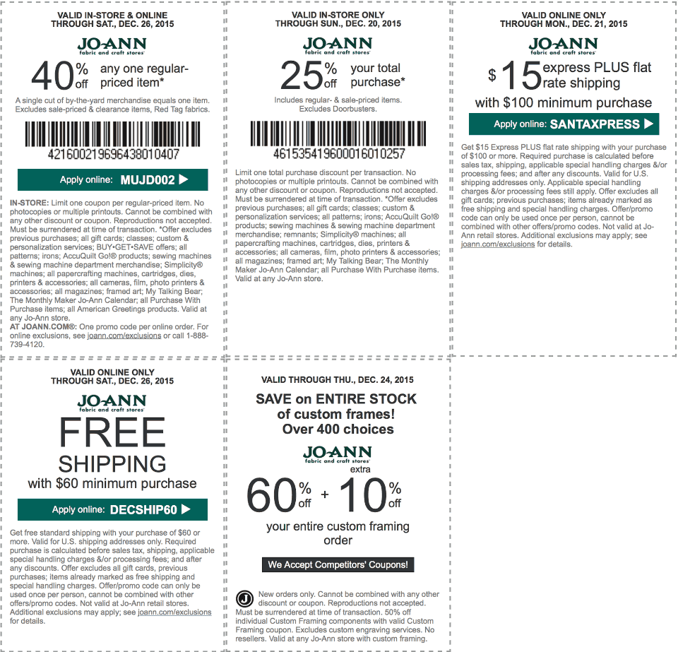 Jo-Ann Fabric Coupon June 2018 40% off a single item & more at Jo-Ann Fabric, or online via promo code MUJD002
