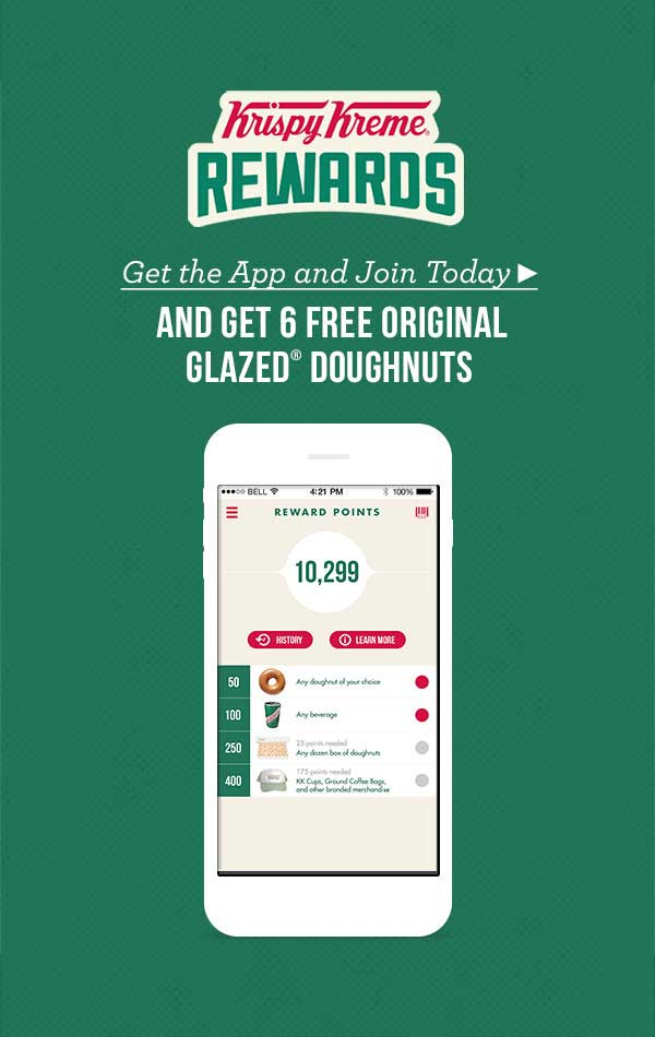 Krispy Kreme Coupon June 2018 6 free donuts via the Krispy Kreme app