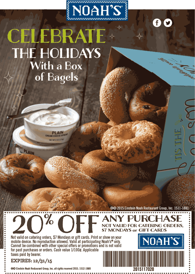 Noahs Coupon May 2018 20% off at Noahs bagels