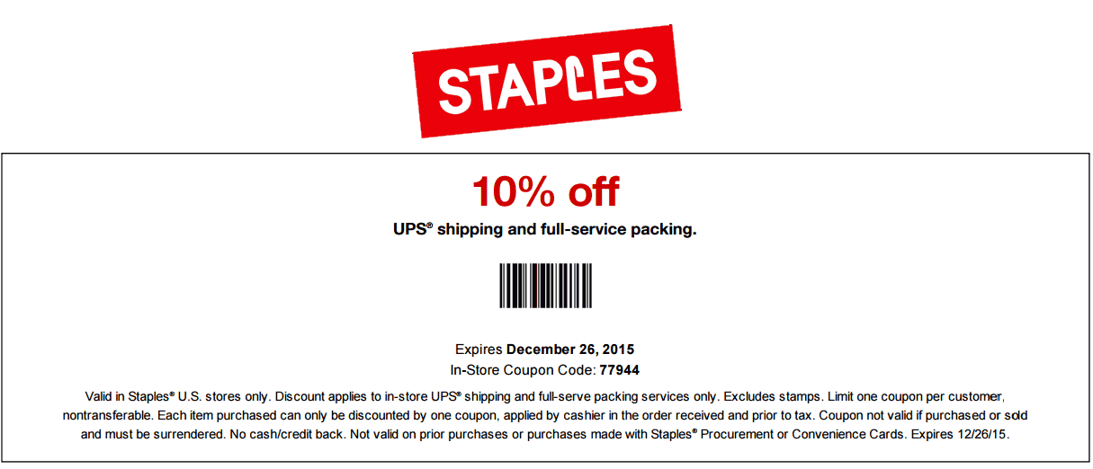 Staples Coupon May 2017 10% off UPS shipping & packing at Staples