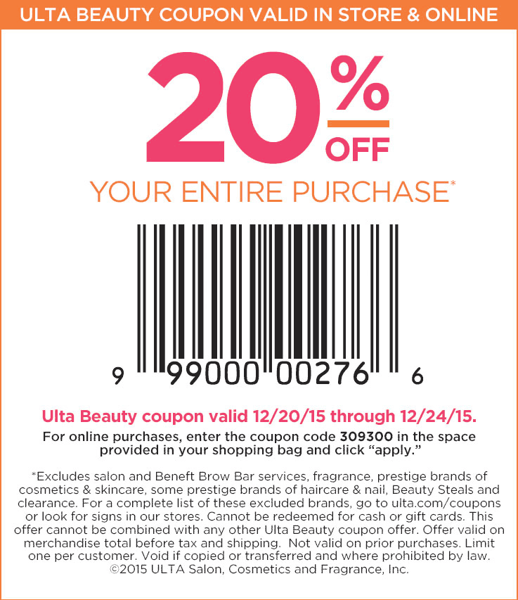 Ulta Coupon July 2017 20% off at Ulta, or online via promo code 309300