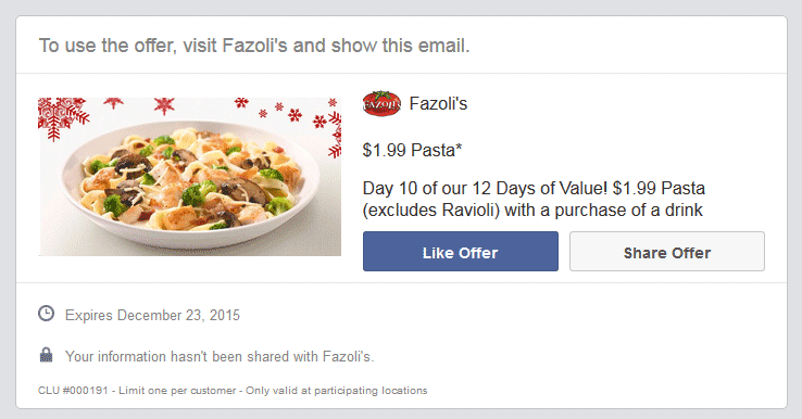 Fazolis Coupon December 2016 $2 pasta at Fazolis restaurants