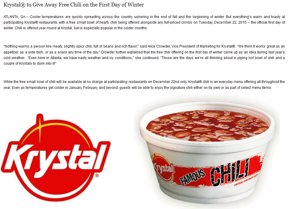 Krystal Coupon May 2018 Free chili with your combo Tuesday at Krystal restaurants