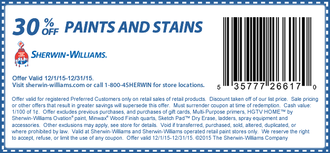 Sherwin Williams Coupon April 2018 30% off paints & stains at Sherwin Williams