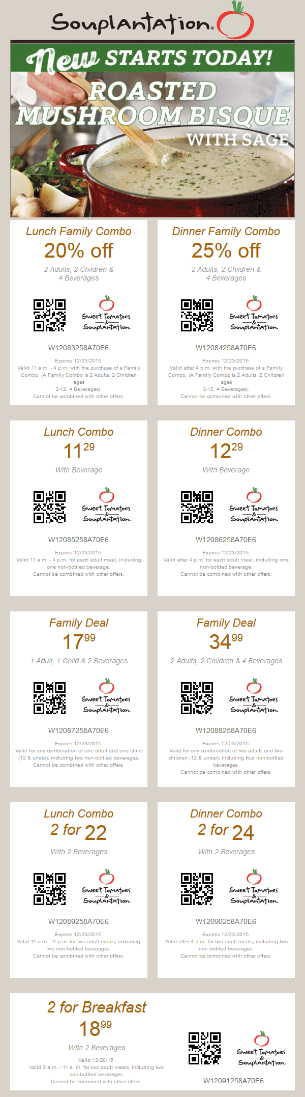 Sweet Tomatoes Coupon December 2016 20% off lunch, 25% off dinner at Souplantation & Sweet Tomatoes