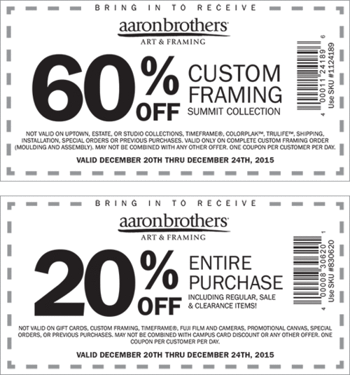 Aaron Brothers Coupon May 2018 Extra 20% off everything at Aaron Brothers