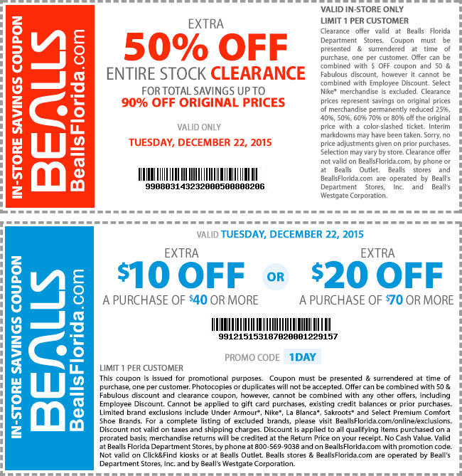 Bealls Coupon April 2017 Extra 50% off clearance & $10 off $40 today at Bealls, or online via promo code 1DAY