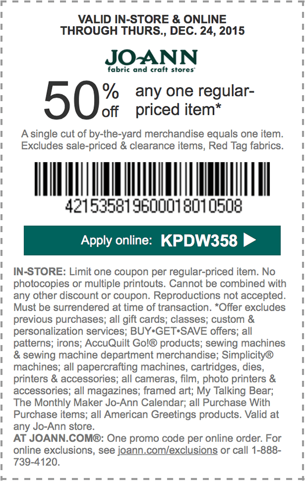 Jo-Ann Fabric Coupon December 2016 50% off a single item at Jo-Ann Fabric, or online via promo code KPDW358