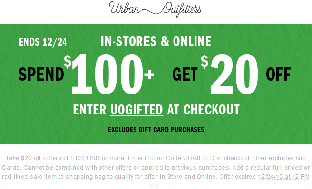 Urban Outfitters Coupon February 2018 $20 off $100 at Urban Outfitters, or online via promo code UOGIFTED