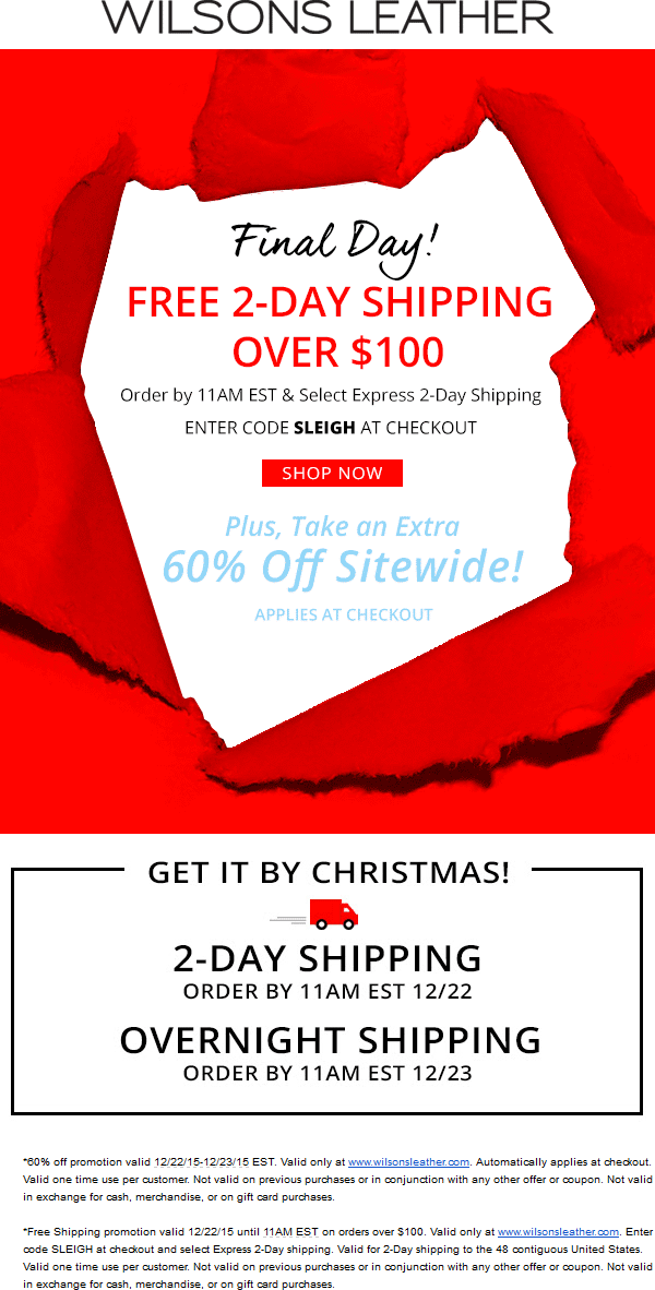 Wilsons Leather Coupon October 2018 60% off everything online at Wilsons Leather + free express shipping via promo code SLEIGH