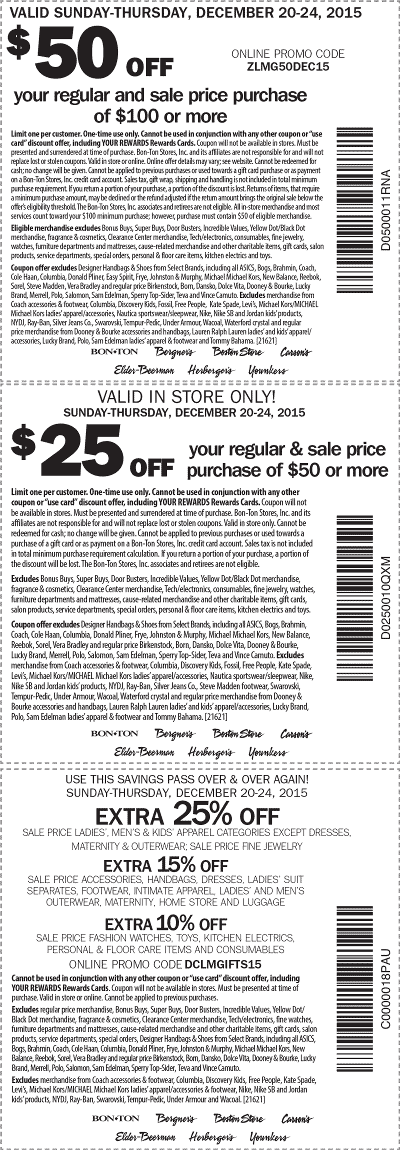 Carsons Coupon December 2016 $50 off $100 & more at Carsons, Bon Ton & sister stores, or online via promo code ZLMG50DEC15