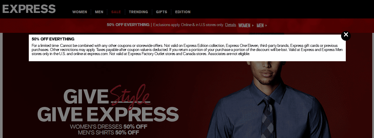 Express Coupon June 2018 50% off everything at Express, ditto online