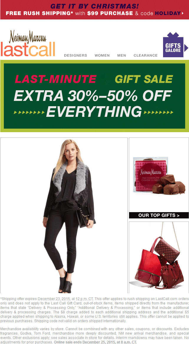 Last Call Coupon March 2018 30-50% off everything at Neiman Marcus Last Call, ditto online