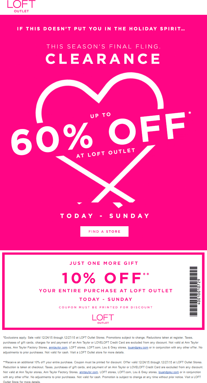 LOFT Outlet Coupon August 2017 Extra 10-60% off at LOFT Outlet