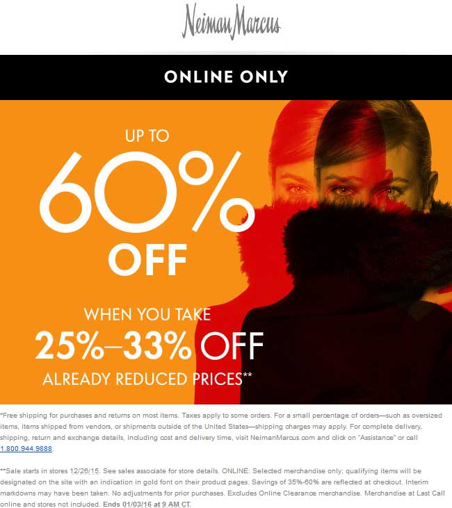 Neiman Marcus Coupon November 2018 Extra 25-33% off sale items online at Neiman Marcus