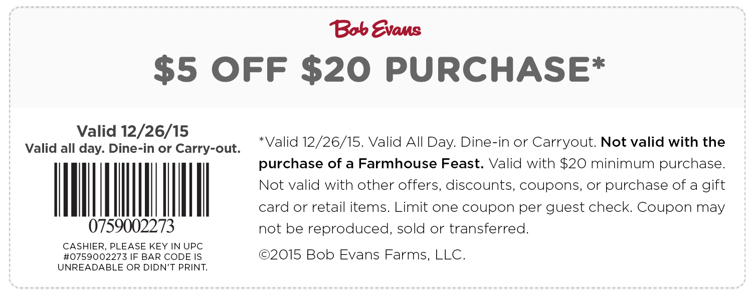 Bob Evans Coupon November 2017 $5 off $20 today at Bob Evans restaurants
