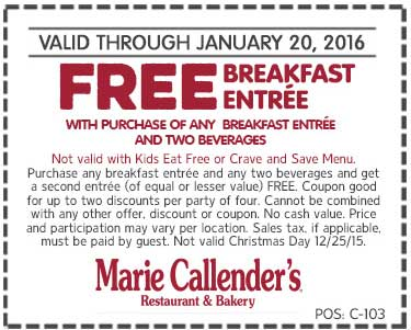 Marie Callenders Coupon January 2018 Second breakfast free at Marie Callenders