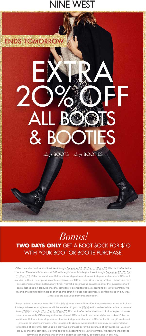 Nine West Coupon September 2018 20% off boots at Nine West, ditto online