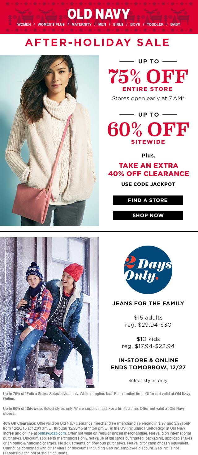 Old Navy Coupon March 2017 Extra 40% off clearance & more at Old Navy, or online via promo code JACKPOT