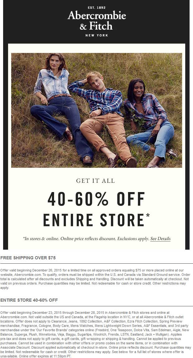Abercrombie & Fitch Coupon June 2017 40-60% off everything at Abercrombie & Fitch, ditto online