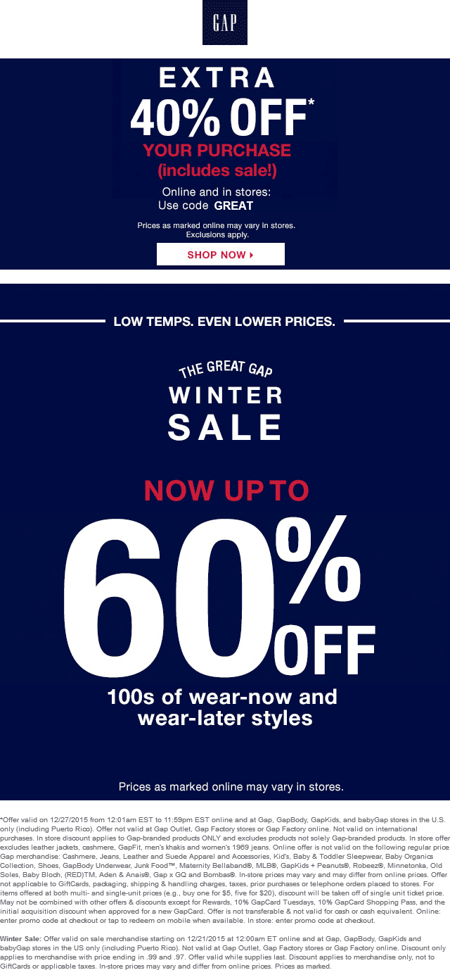 Gap Coupon January 2017 Extra 40% off today at Gap, or online via promo code GREAT