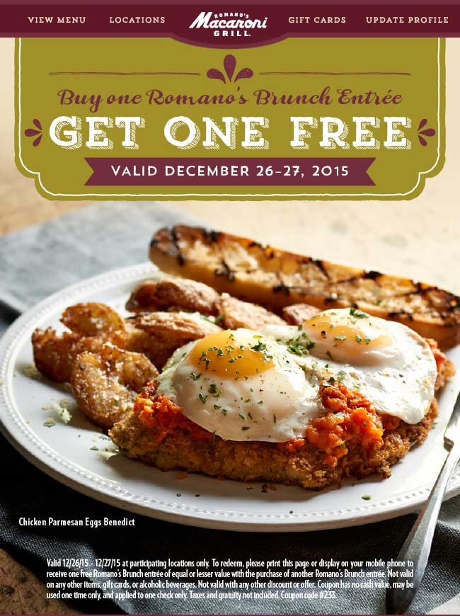 Macaroni Grill Coupon April 2018 Second brunch free today at Macaroni Grill