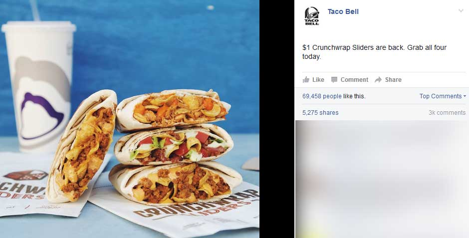 Taco Bell Coupon August 2017 Crunchwrap sliders for $1 buck at Taco Bell