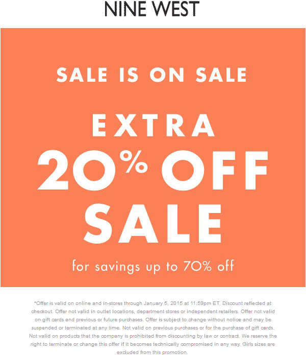 Nine West Coupon October 2017 Extra 20% off sale items at Nine West, ditto online
