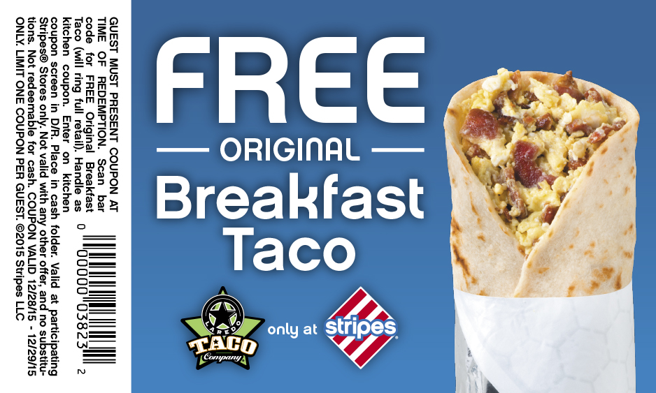 Stripes Coupon February 2017 Free breakfast taco at Stripes gas stations