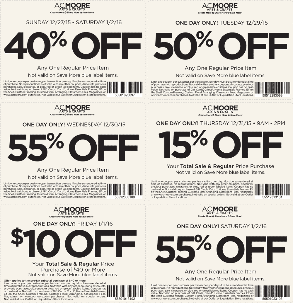 A.C. Moore Coupon December 2016 55% off a single item & more at A.C. Moore